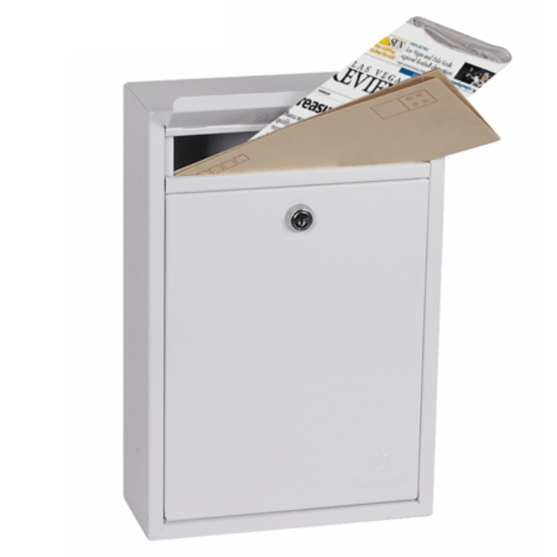 Phoenix Letra  White Front Loading Mail Box