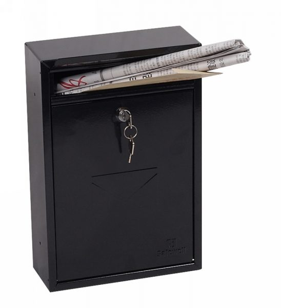 Phoenix Letra  Black Front Loading Mail Box