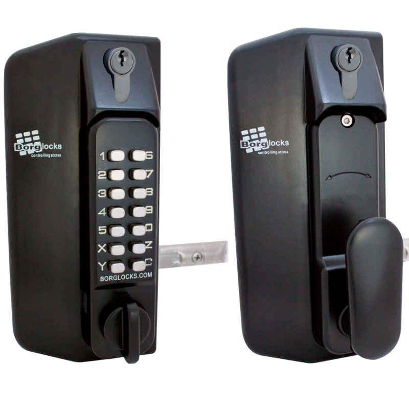 BORG BL3100DK0 Knob Operated Marine Grade Metal Gate Single Digital Lock. With Key Override.