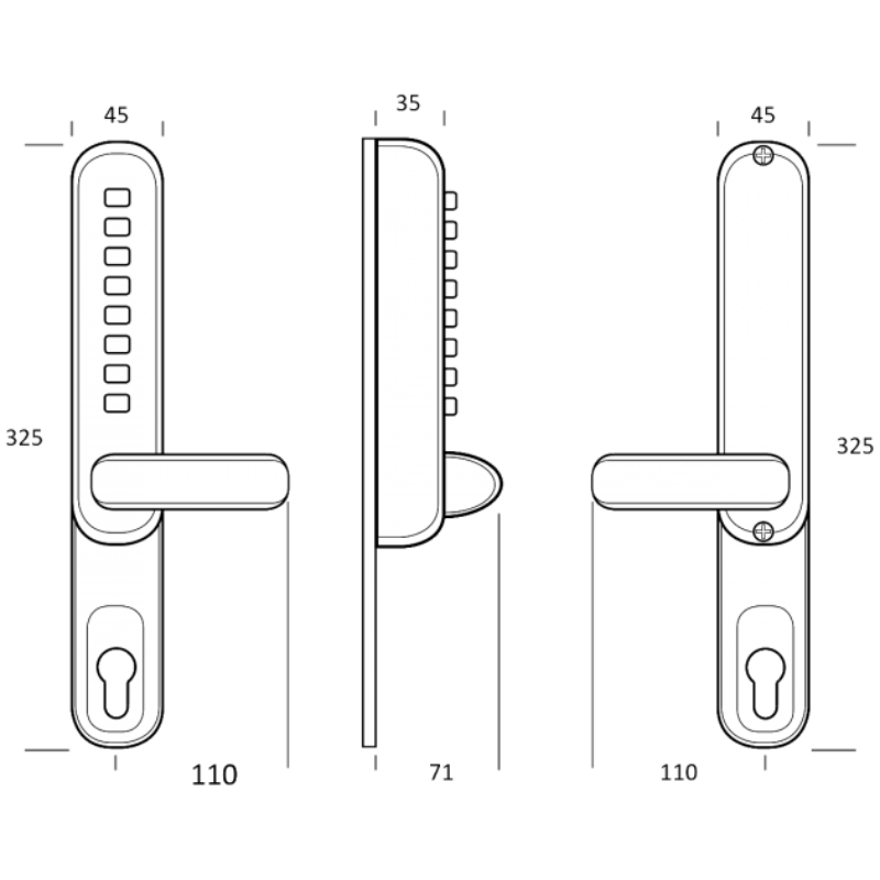 BORG LOCKS BL6100 Narrow Style Digital Lock With UPVC Extension