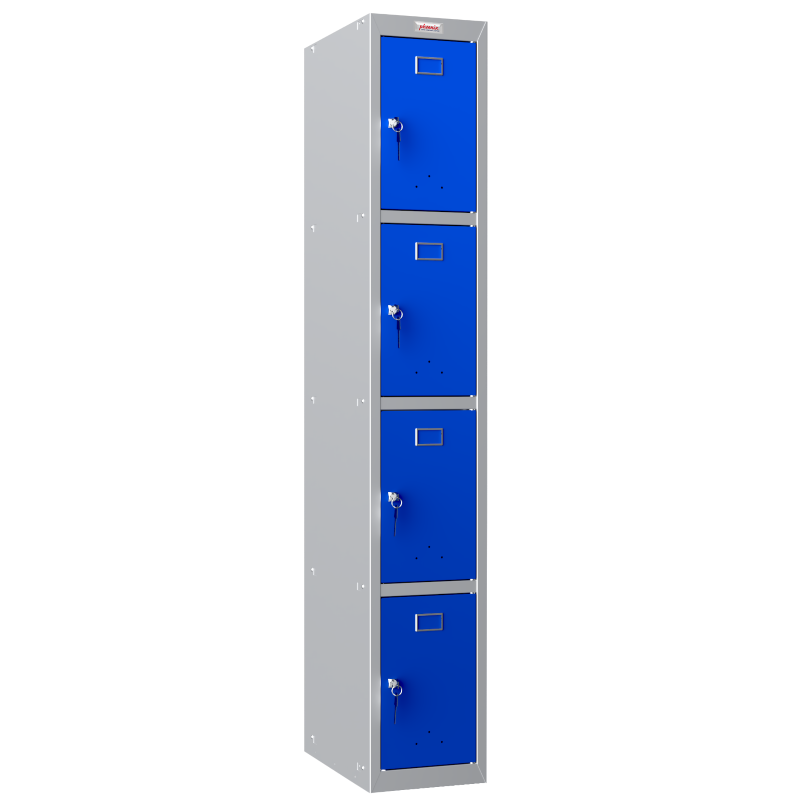 Phoenix  1 Column 4 Door Personal locker in Blue