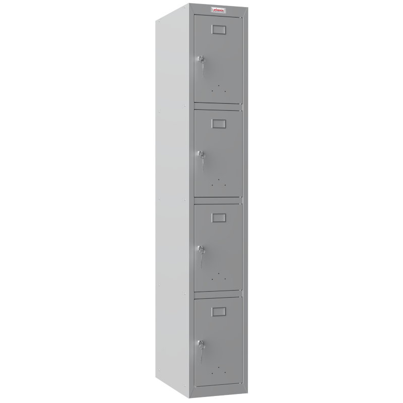 Phoenix  1 Column 4 Door Personal locker in Grey