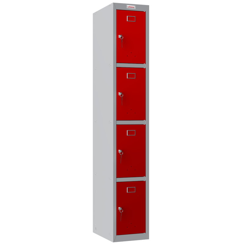 Phoenix  1 Column 4 Door Personal locker in Red