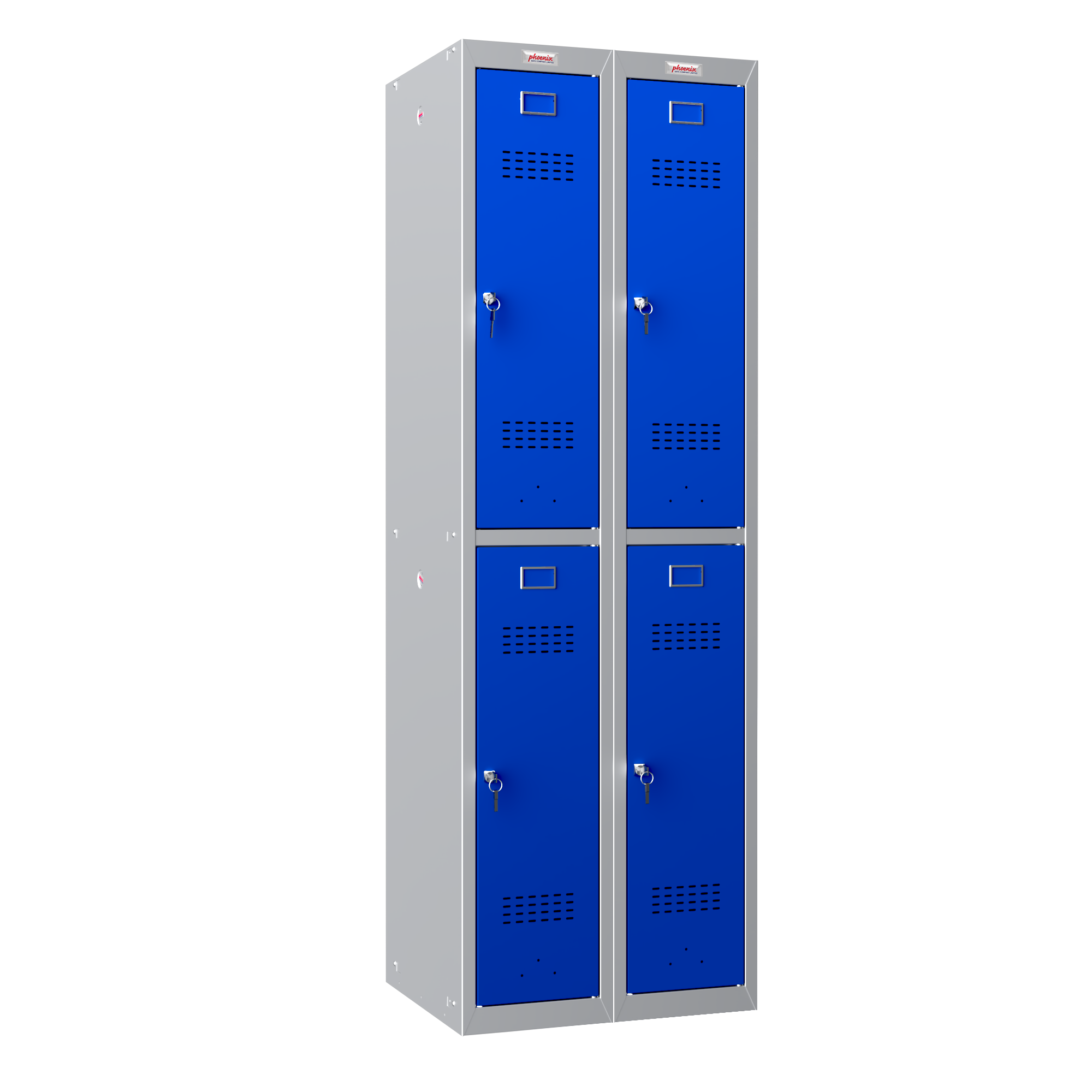 Phoenix 2 Column 4 Door Personal Locker Combo in Blue