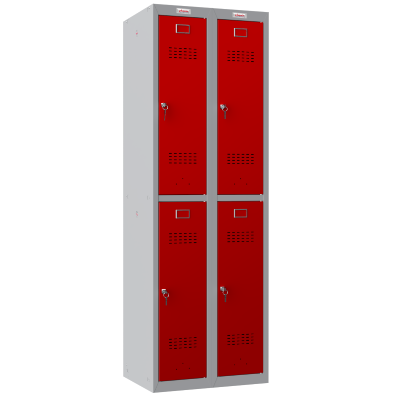 Phoenix 2 Column 4 Door Personal Locker Combo in Red