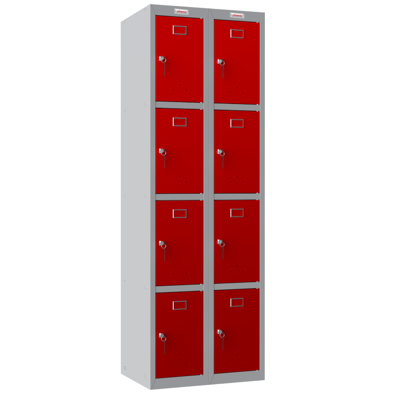 Phoenix  2 Column 8 Door Personal Locker Combo in Red