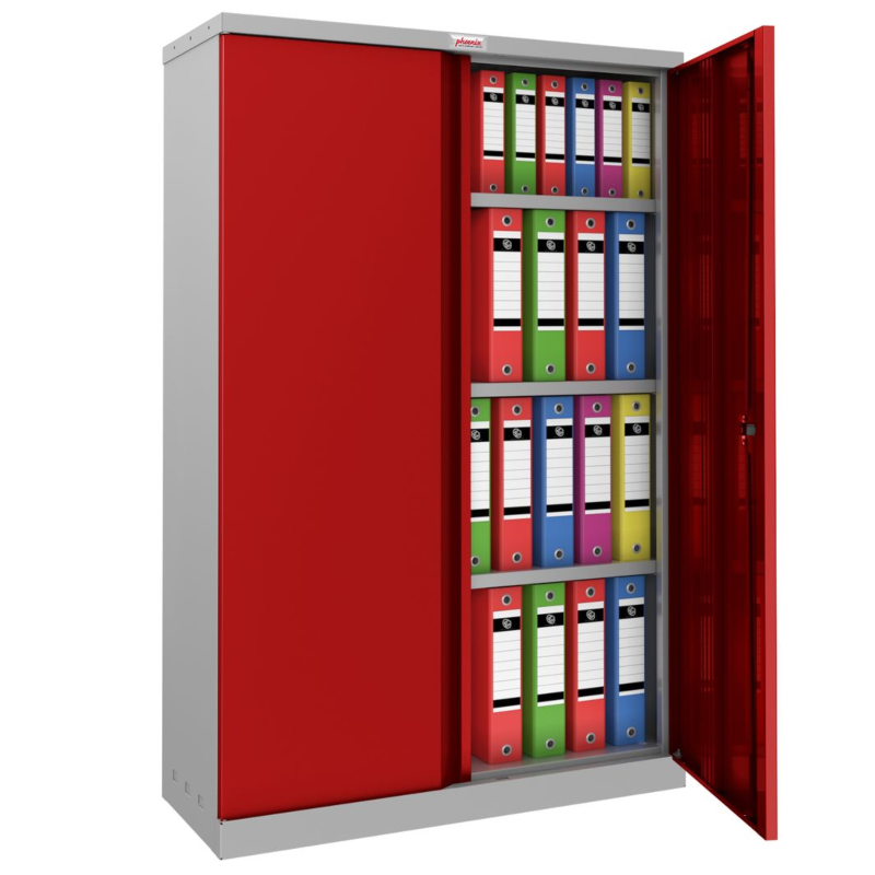 Phoenix SCL 3 Shelf Steel Storage Cupboard Red