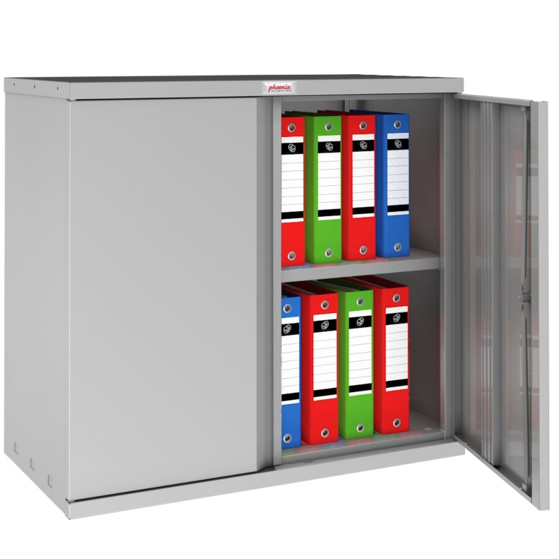 Phoenix SC 2 Door 1 Shelf Stationery Cupboard. Grey
