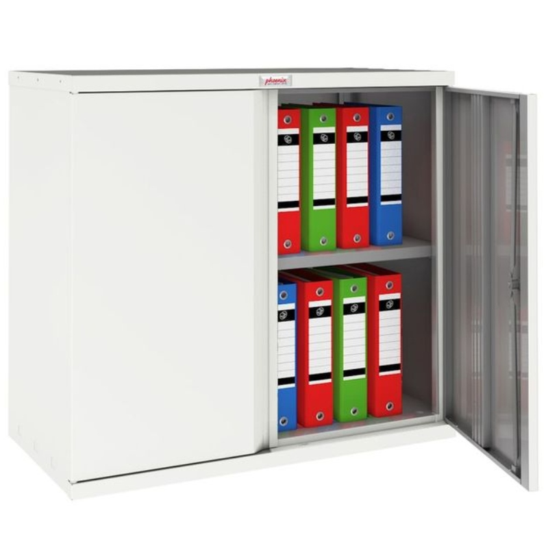 Phoenix SC 2 Door 1 Shelf Stationery Cupboard. White