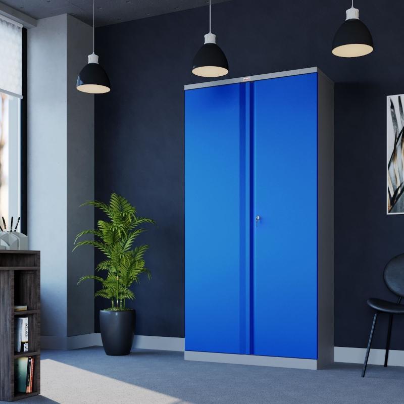 Phoenix 2 Door 4 Shelf Steel Storage Cupboard in Blue