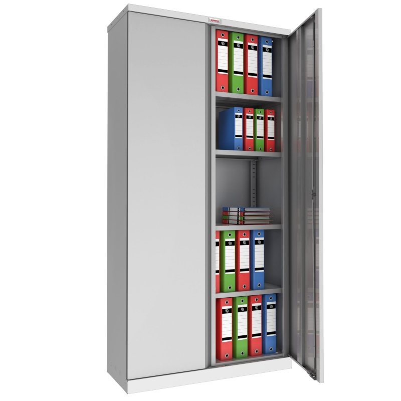 Phoenix 2 Door 4 Shelf Steel Storage Cupboard in Grey