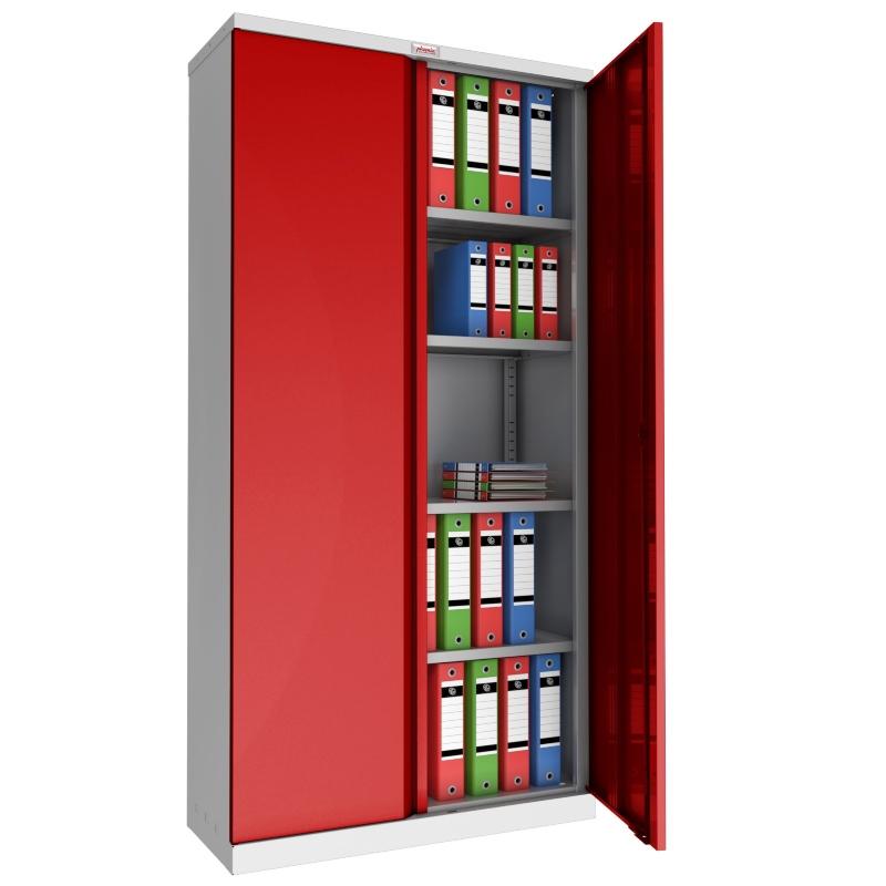 Phoenix 2 Door 4 Shelf Steel Storage Cupboard in Red
